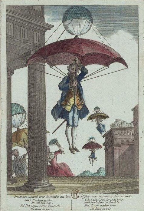 """New invention for descending from the top of a building without the aid of a staircase."" 1780's"
