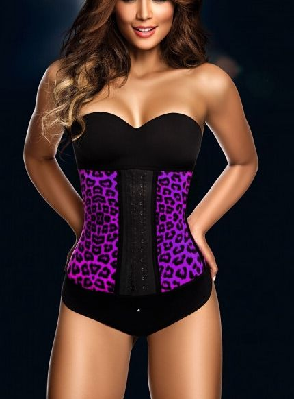 The Purple Color Leopard Print Latex Rubber Corset Waist Training Cincher christinzhang9@gmail.com