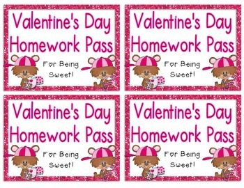 Classroom Freebies: Valentine's Day Homework Passes