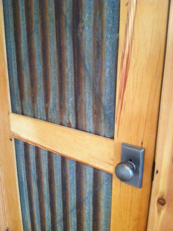 Salvaged Corrugated Panel Door Recycle Repurpose