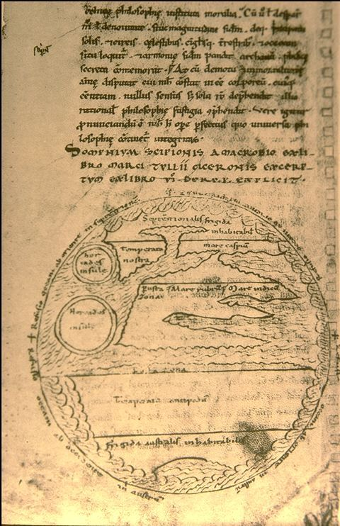 Macrobian World Map from a French MS, 12th century