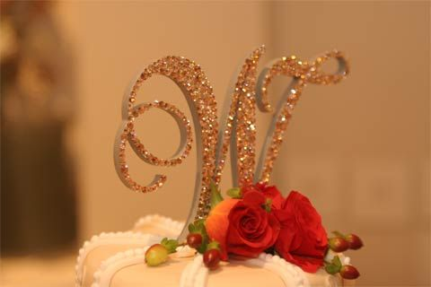 Toppers With Glitz Single Initial Cake Topper Wendy - Light Colorado Topaz, Silk, Gold Shadow, Light Peach