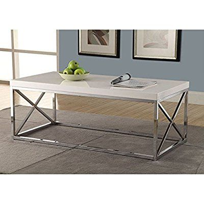 Monarch Metal Cocktail Table, Glossy White/Chrome