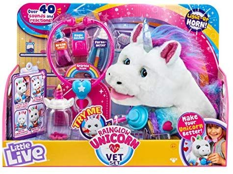 Amazon Com Little Live Rainglow Unicorn Vet Set Interactive Pet Unicorn Toys Games Little Live Pets Unicorn Toys Unicorn