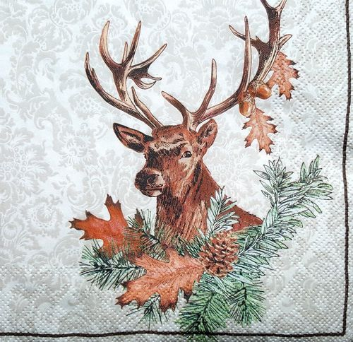 4 Vintage  Paper Napkins for Party Lunch for Decoupage Proud Elk Deer