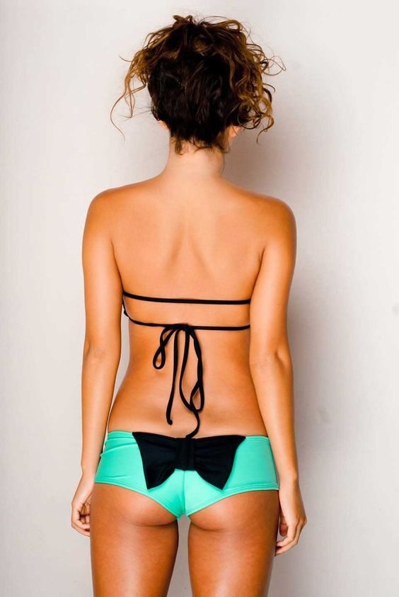 bow bikini bottoms and double string top