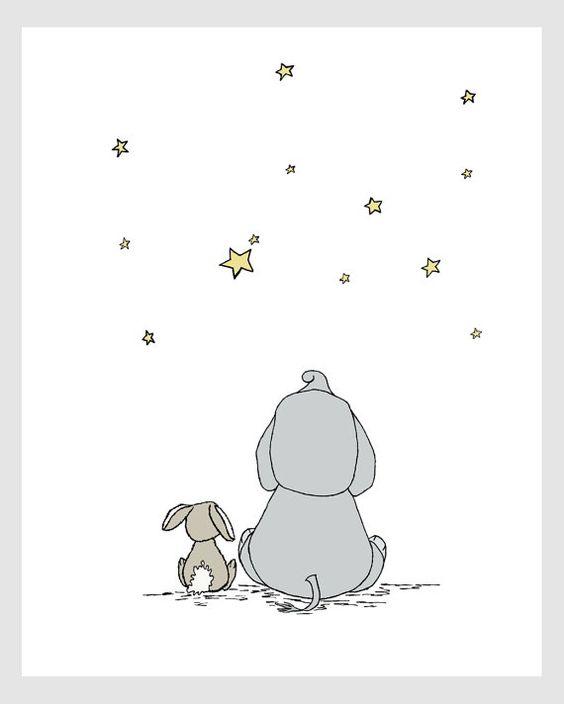 Elefant und Hase Kinderzimmer KunstMake A Wish mit