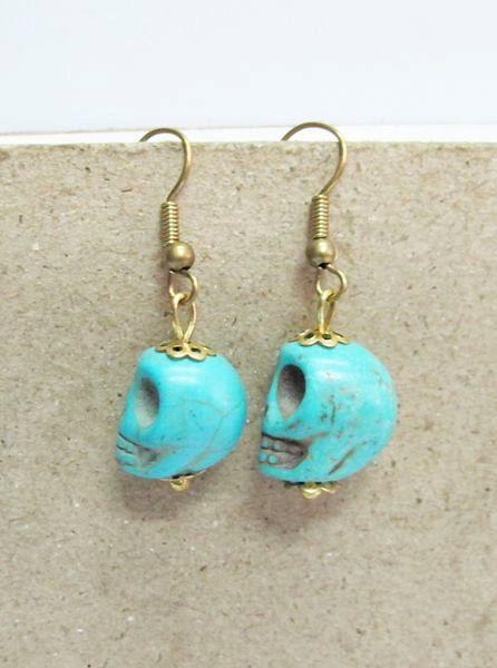 Blue Howlite Skull Stone Dangle Earrings by Summerwrist on Etsy