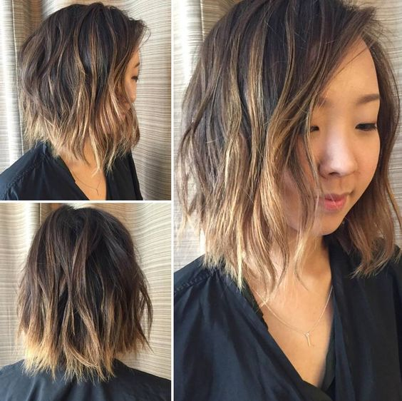 messy bob with balayage highlights Choppy Waves With Ombre Highlights Naturally black hair can easily mix