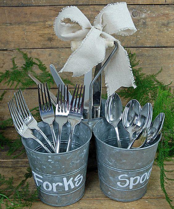 Save On Crafts Rustic Triple Bucket Set / http://www.deerpearlflowers.com/rustic-buckets-tubs-wedding-ideas/2/