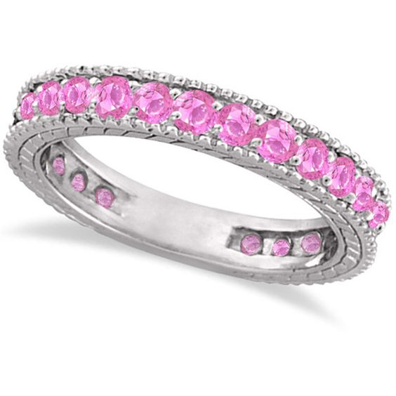 Allurez Pink Sapphire Eternity Ring Anniversary Band 14k White Gold... ($925) ❤ liked on Polyvore featuring jewelry, rings, white gold eternity ring, eternity band ring, antique filigree ring, filigree ring and band rings