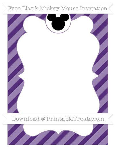Free Royal Purple Diagonal Striped Blank Mickey Mouse Invitation