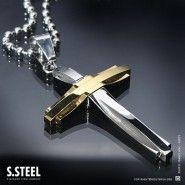 SAINT Stainless Steel cross Pendant C-128 Gold Silver