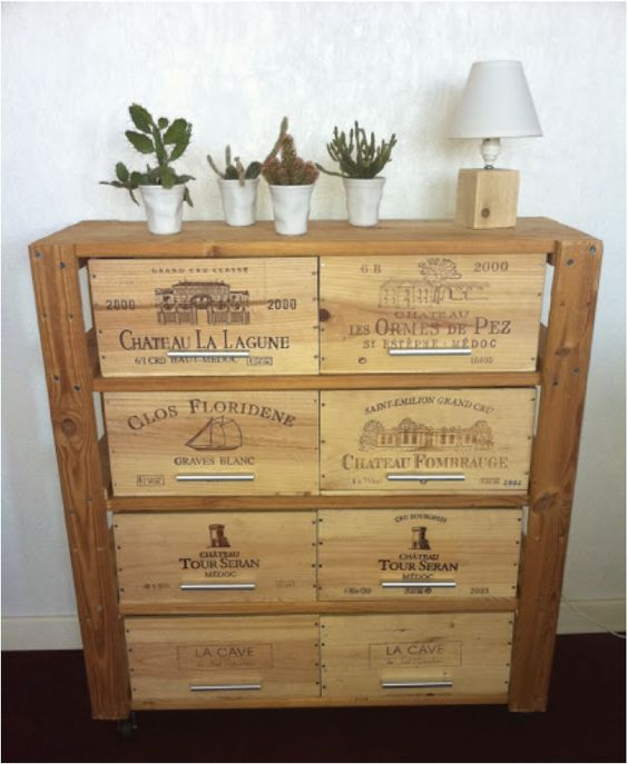 Meuble Avec Des Caisses De Vins Cr Dit Decoration Pinterest