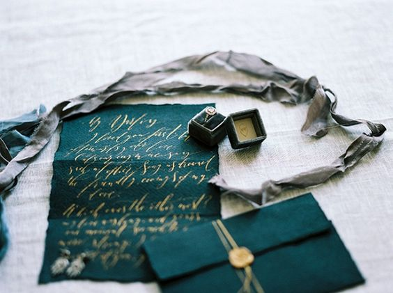 fall wedding palette - emerald and gold wedding papers - vows