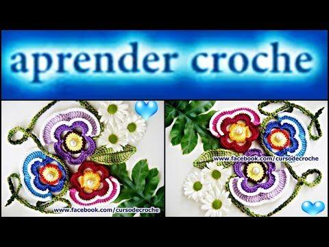 FLORES EM CROCHE FLOR AMOR PERFEITO MODELO UM - 038 - YouTube