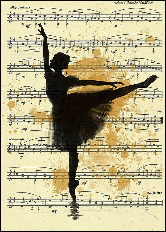 Print Art Ink Drawing best gift Ballet Sketchmusic Silhouette Painting Illustration Ballerina Vintage Autographed Emanuel M. Ologeanu