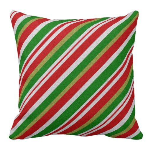 Christmas Candy Striped Throw Pillow