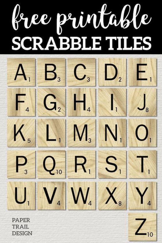 Free Printable Scrabble Letter Tiles Sign Scrabble Tile Crafts