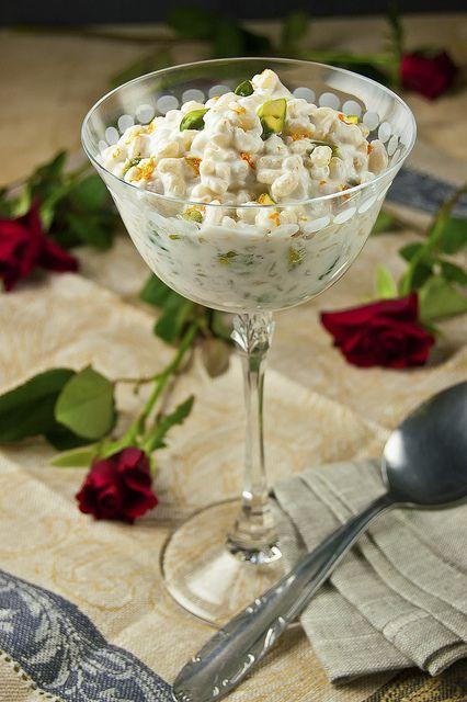 Pistachios Cuccía: a Sicilian dessert of ivory wheat berries, milky ricotta and emerald green pistachios.