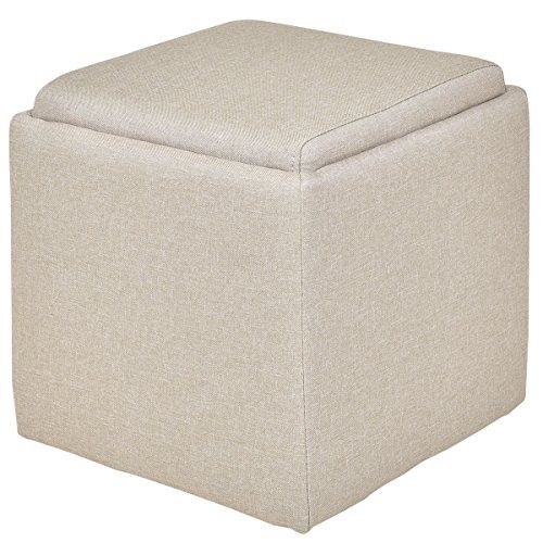 Linen Ottoman Storage Box Square Foot Stool Footstools Seat Wood