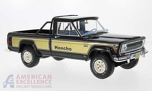 Diecast Car Jeep J10 Honcho Black Gold 1976 Car Model