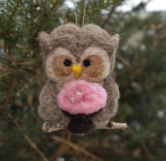 Needle Felted Owl Ornament  Holding Cupcake by scratchcraft