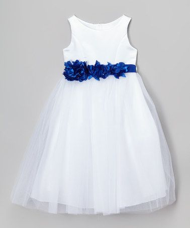 Love this White & Royal Blue Petal Sash Dress - Toddler & Girls by Cinderella Couture on #zulily! #zulilyfinds