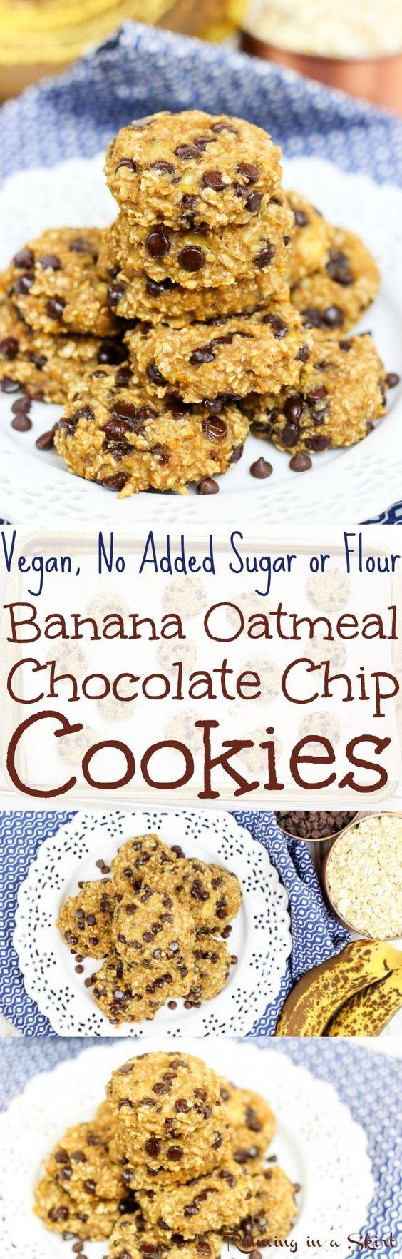 Oatmeal Chocolate Chip Cookies recipe. Vegan, eggs free, dairy-free ...