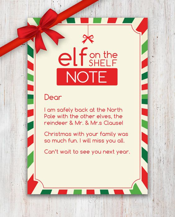 A sweet Elf on the Shelf Goodbye Note Good idea for the to do