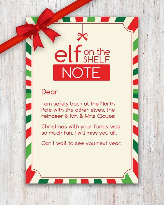 A sweet Elf on the Shelf  - goodbye note