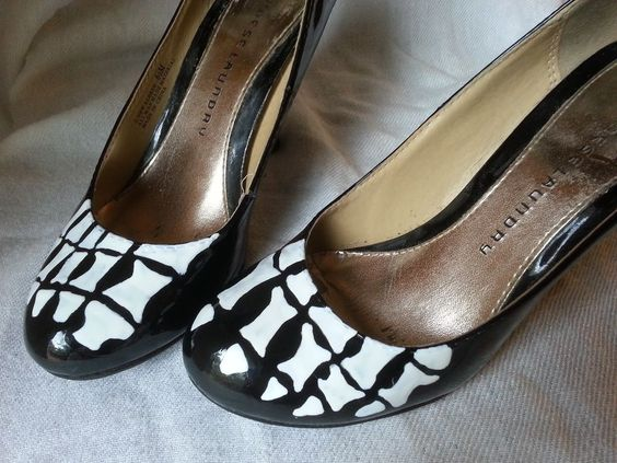 DIY Halloween Shoes easily made with white contact paper or for a more permanent solution white duct tape