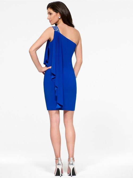 Details about CACHE NWT Sexy Blue Crystal Details One Shoulder ...