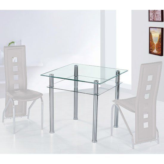 Como Glass Dining Table Square In Clear Glass With Chrome Base Glass Dining Table Square Dining Room Table Oak Dining Room Set