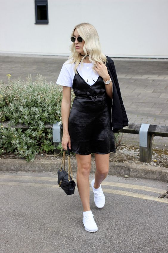 UK fashion blog monochrome outfit charlotte buttrick - layering a slip dress over a t-shirt with Nike Air Presto fly knit trainers street style: