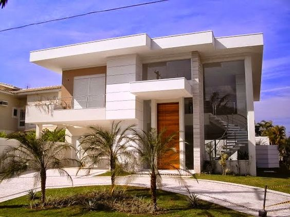 Arquitetura decor and beautiful modern homes on pinterest for Fachadas de entradas de casas