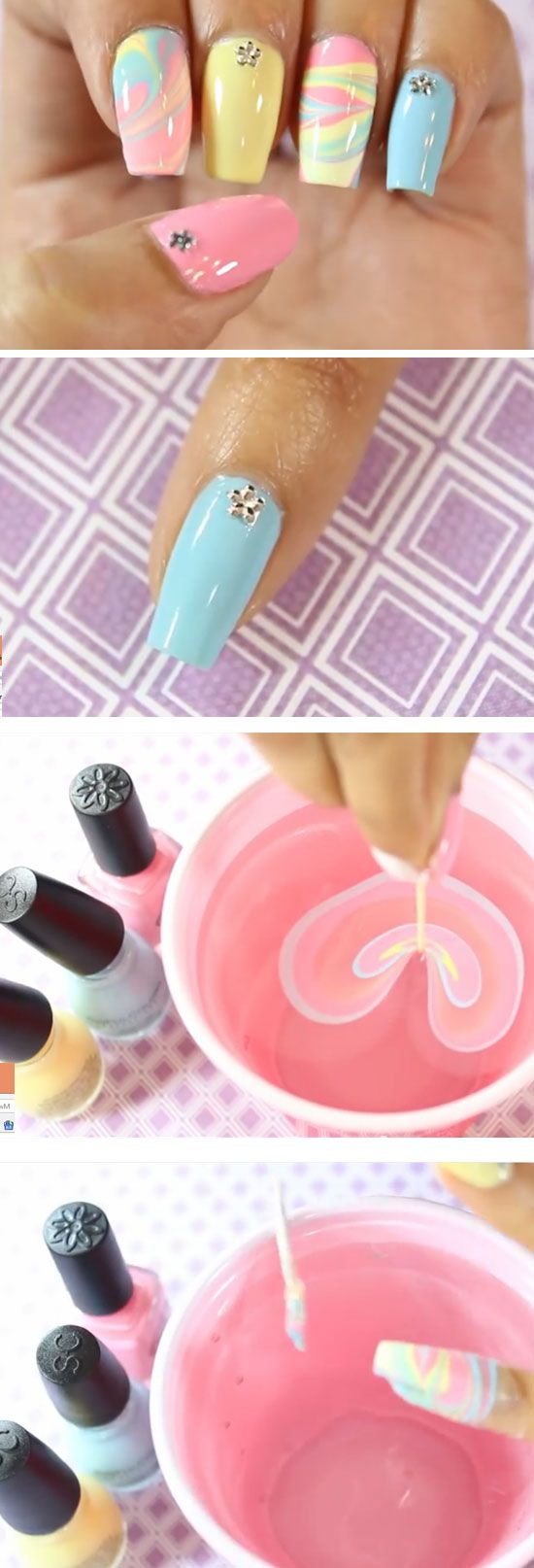 21 easy easter nail designs for short nails easter nail designs water marble nails and marble nails - Easy Nail Designs For Short Nails At Home