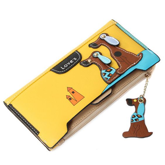 2015 Women Long Wallets PU Leather Lovely Dog Patchework Double