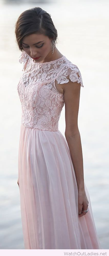 Light pink lace bridesmaid dress: