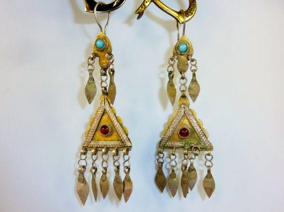Feuervergoldete turkmenische Silberohrringe mit von neemaheTribal