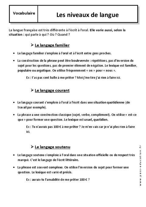 Les Niveaux De Langue Cm1 Niveau De Langue Apprendre Le Francais Pdf Cm1