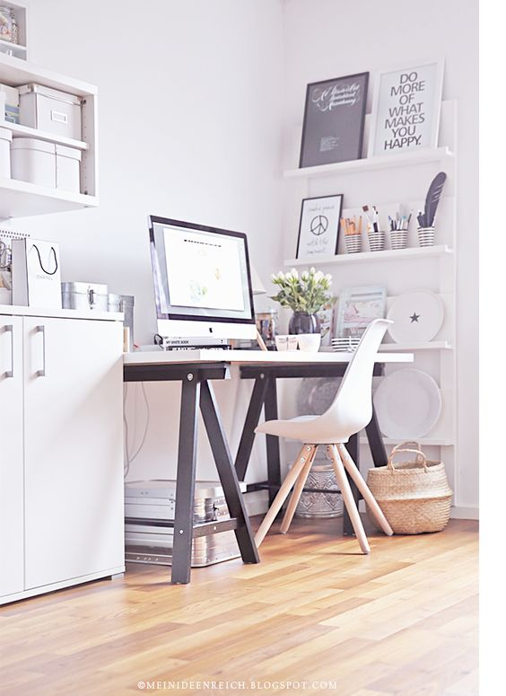 Black and white workspace | FINNVARD trestle legs painted black | Love the stripy pots