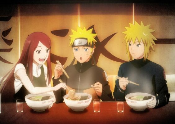 Family eating noodles<3
