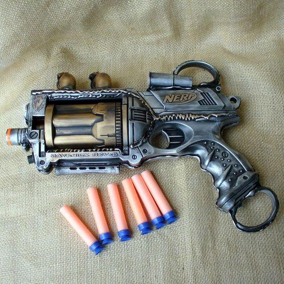 Steampunk Gun Nerf Maverick N-Strike Victorian Gothic by oldjunkyardboutique $39.99