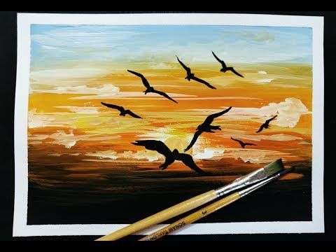 Easy Poster Colour Painting For Beginners Youtube Poster Color Painting Painting Landscape Paintings