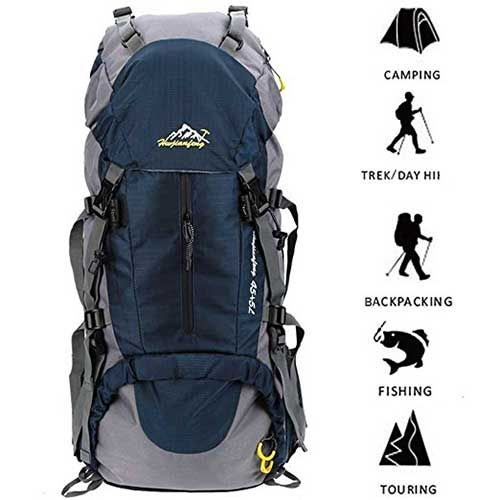 Cycling Traveling MOUNTAINTOP 40L Hiking Backpack with Rain Cover Water Resistant Mens Women Rucksack for Trekking Camping Climbing