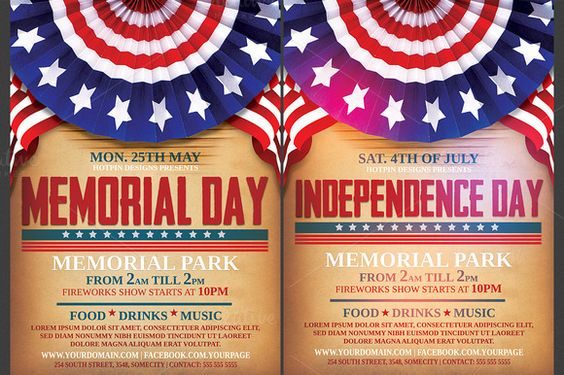 Independence\/Memorial Day Flyer by Hotpin on Creative Market - independence day flyer