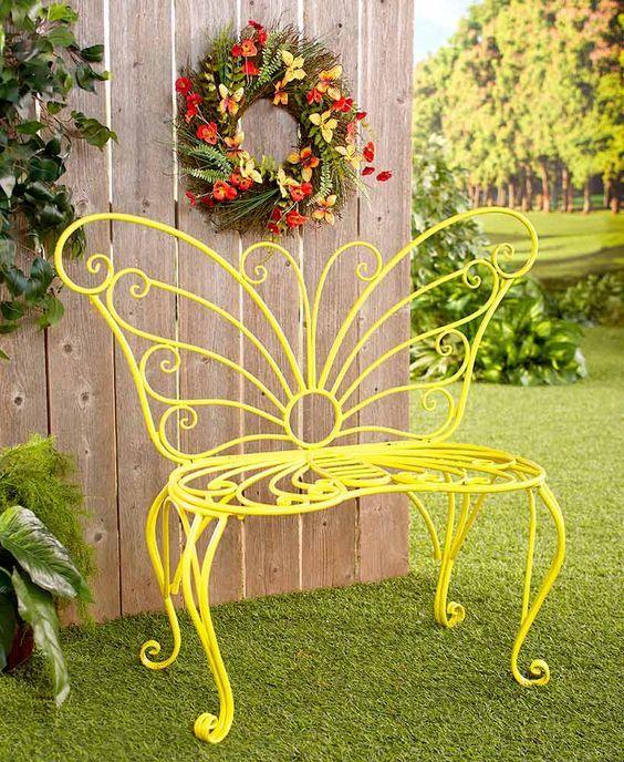 Bella Banca De Metal Con Diseño De Mariposa En Color