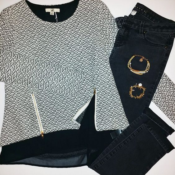 #ootd Archive - Oct 14 - Sweater with Black Skinny Jeans and Spiked Bracelet: Sweater: Size S – Ya Los Angeles – $14 Black Skinnies: Size 6 – LC Lauren Conrad – $10