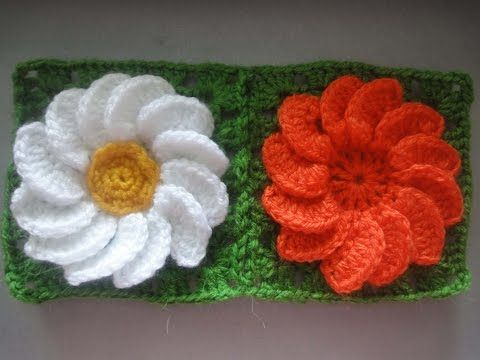 ▶ Цветок в квадрате Flower in a square Crochet - YouTube